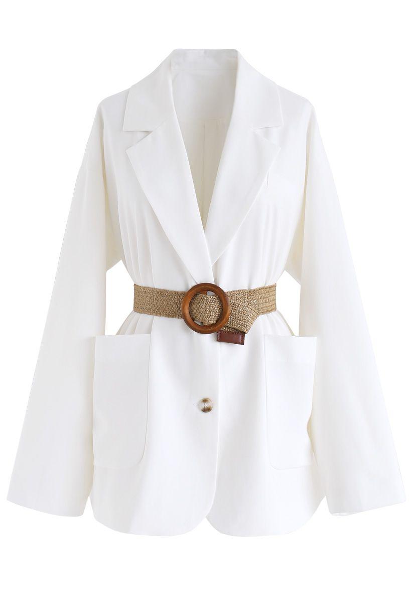 O-Ring Belted Blazer in White