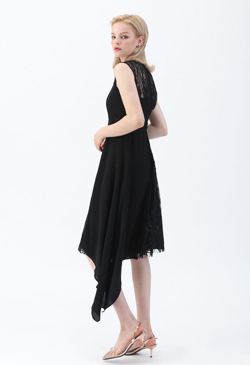 Lace Chiffon Asymmetric Sleeveless Dress in Black
