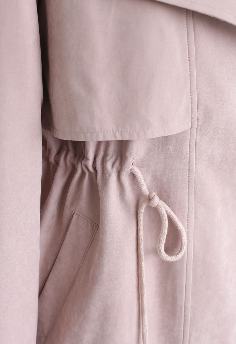 Drawstring Waist Longline Trench Coat in Pink