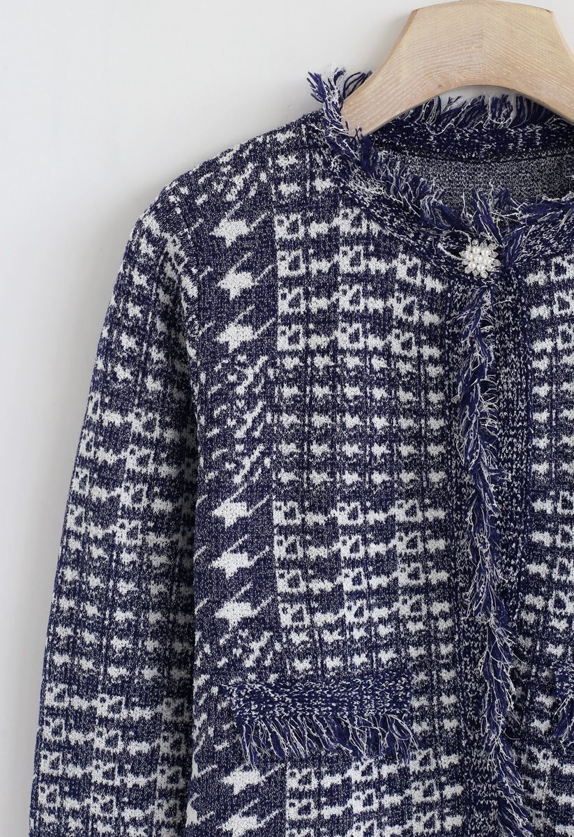 Contrast Houndstooth Pattern Crop Cardigan in Navy