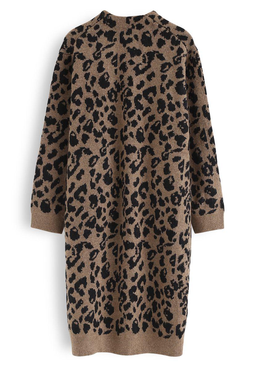 Leopard Pockets Longline Cardigan in Brown