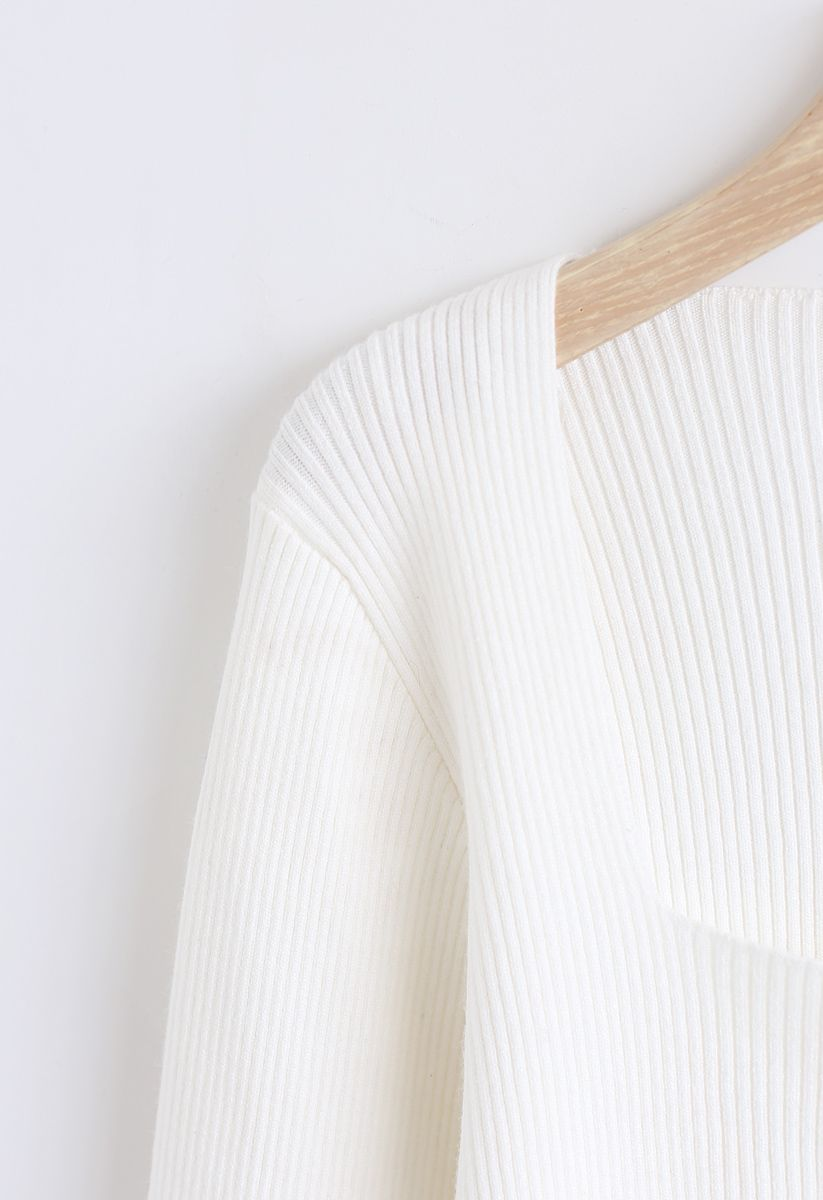 Square Neck Knit Top in White