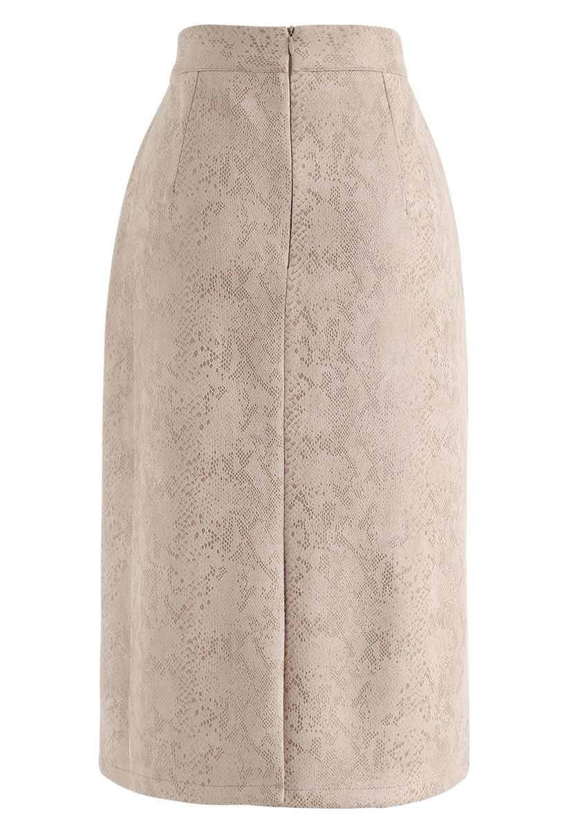 Snake Print Faux Suede Pencil Skirt