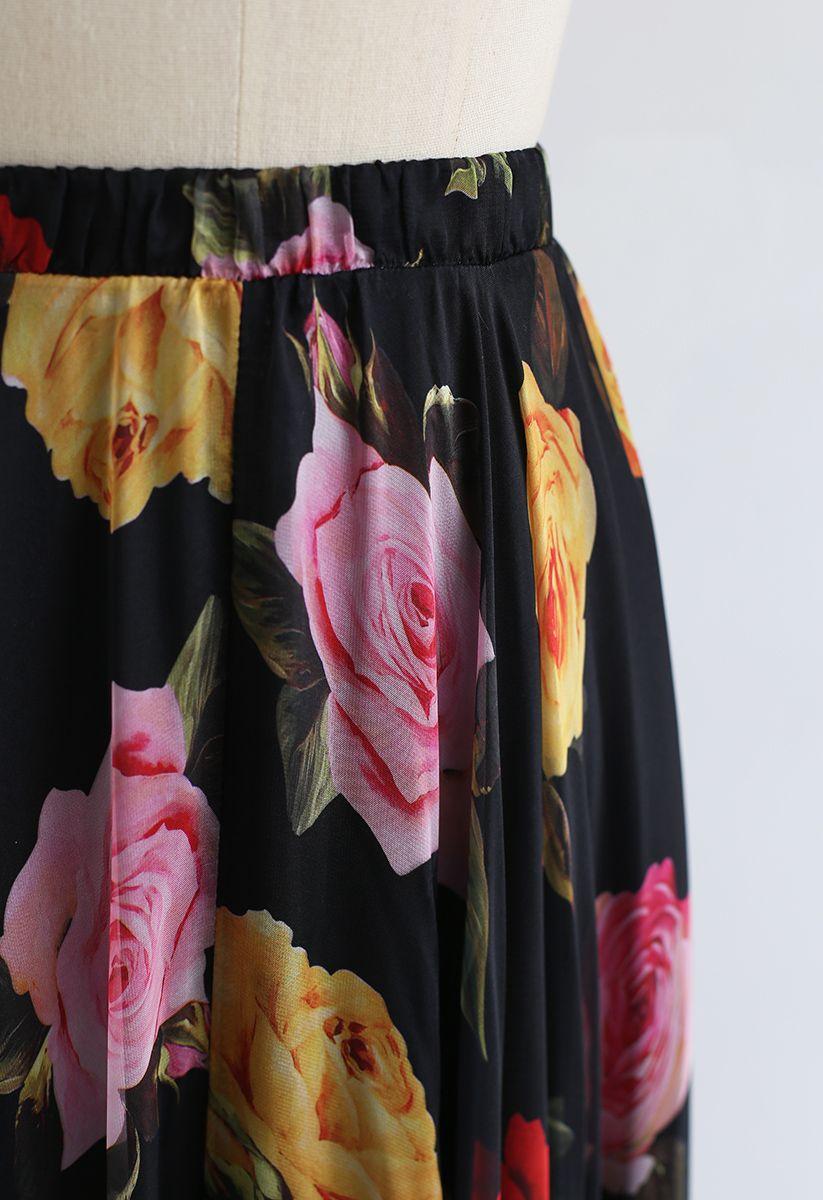Blooming Rose Watercolor Maxi Skirt in Black