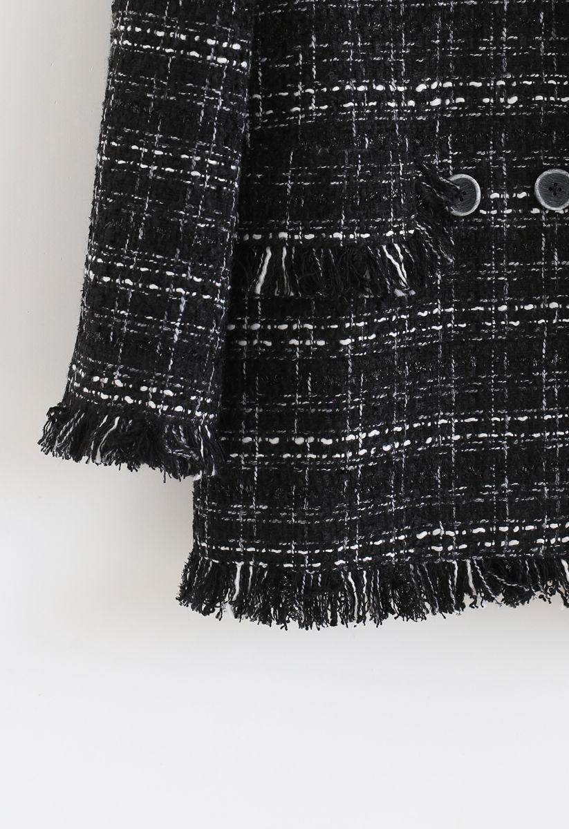 Raw Edges Trim Double-Breasted Tweed Blazer