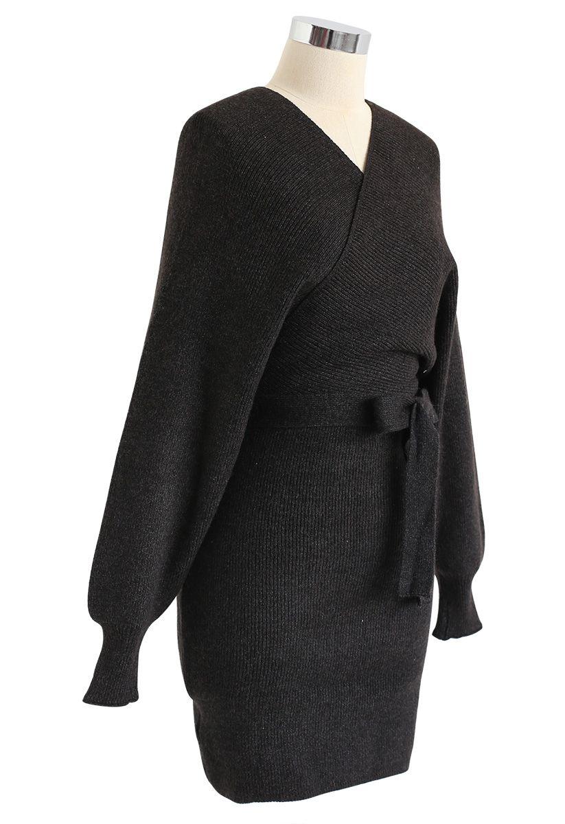 Modern Allure Wrapped Knit Dress in Dark Grey