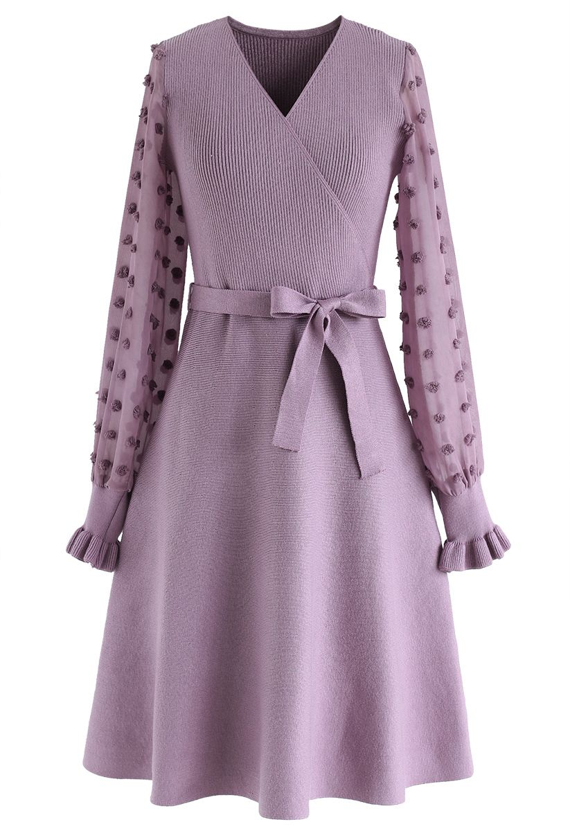 There You Go Wrap Knit Dress in Violet