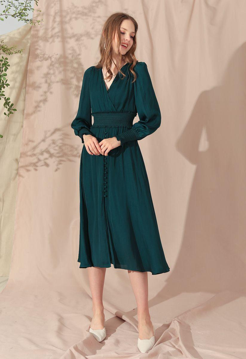 Satin Button Down Wrap Midi Dress in Dark Green
