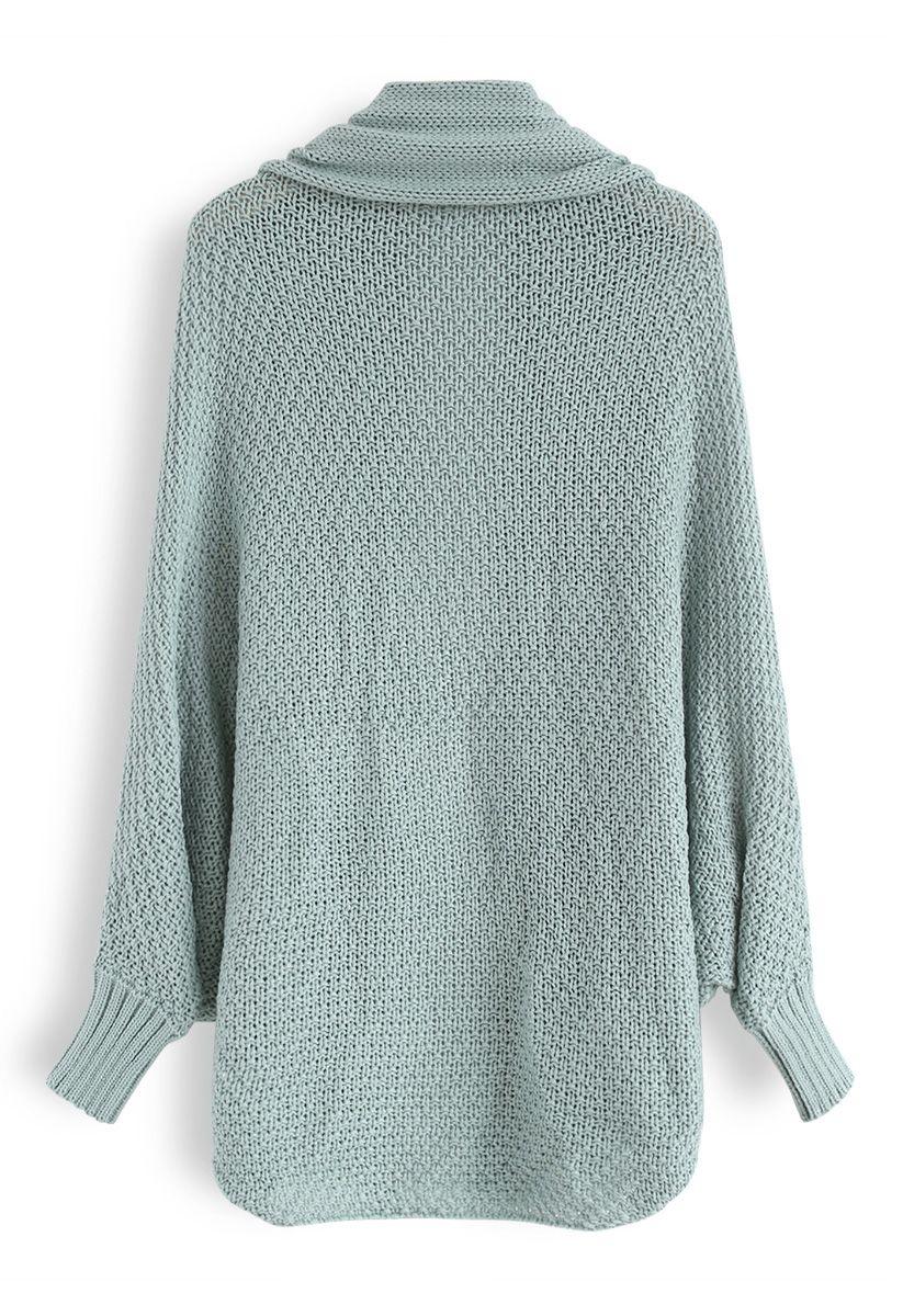 Open Front Drape Knit Cardigan in Blue