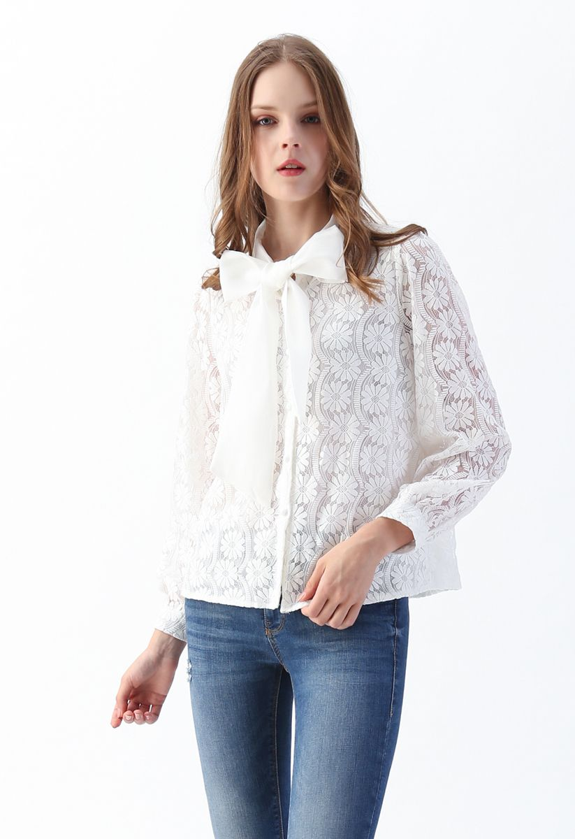Floral Lace Bow Neck Shirt in White