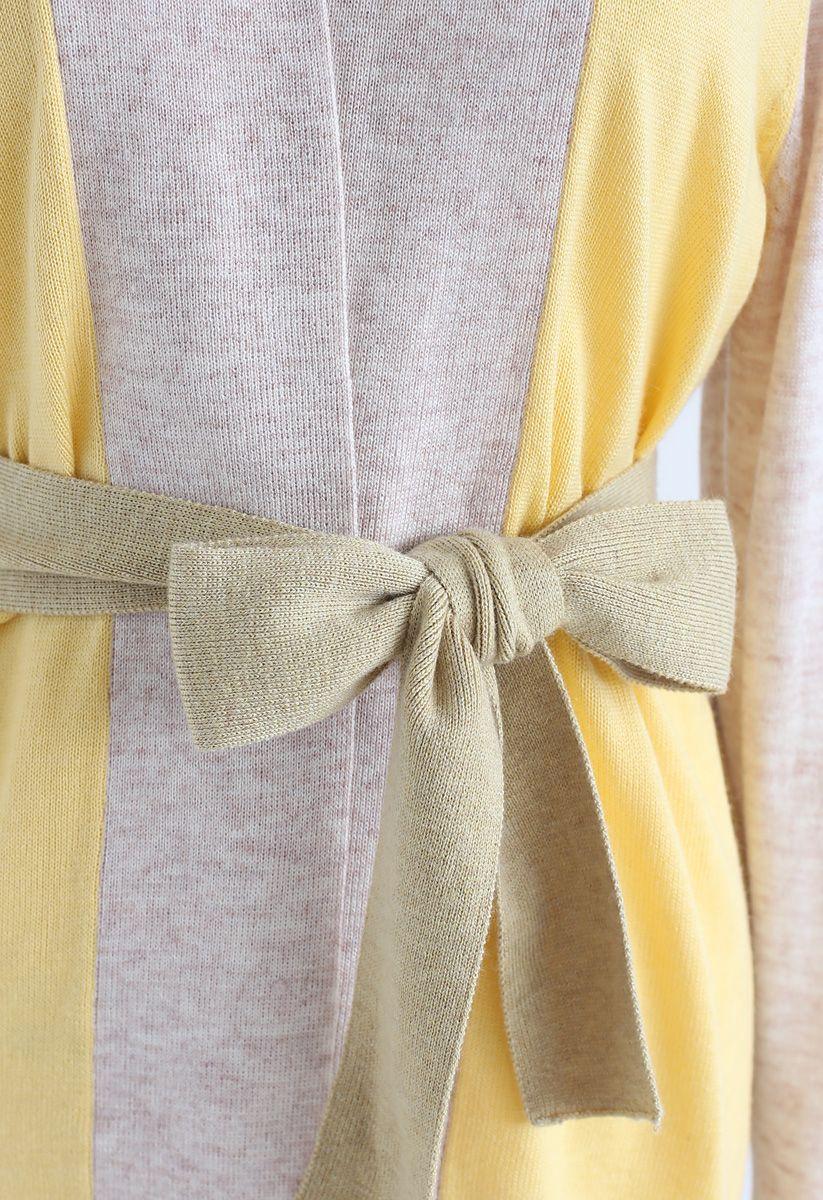 Bright Hue Split Back Belted Cardigan