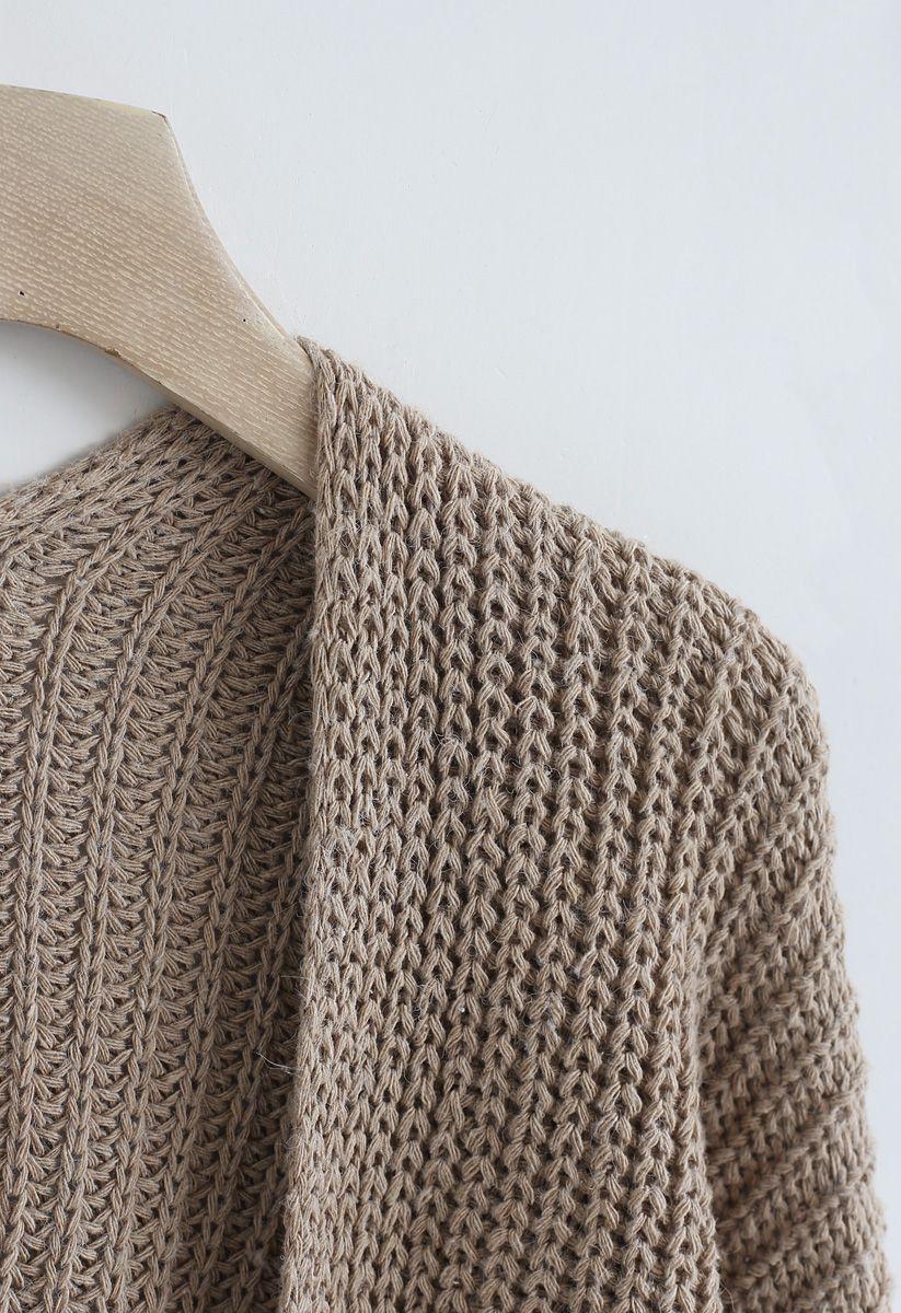 V-Shape Cutout Back Knit Cardigan in Caramel