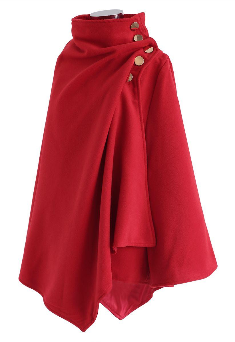 Asymmetric Hem Button Wrap Cape Coat in Red