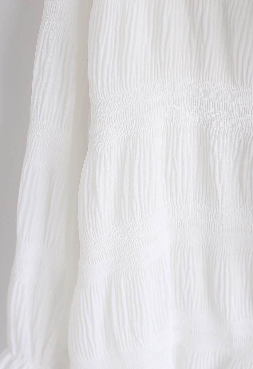 Ruffle Trim Shirred V-Neck Shirt in White