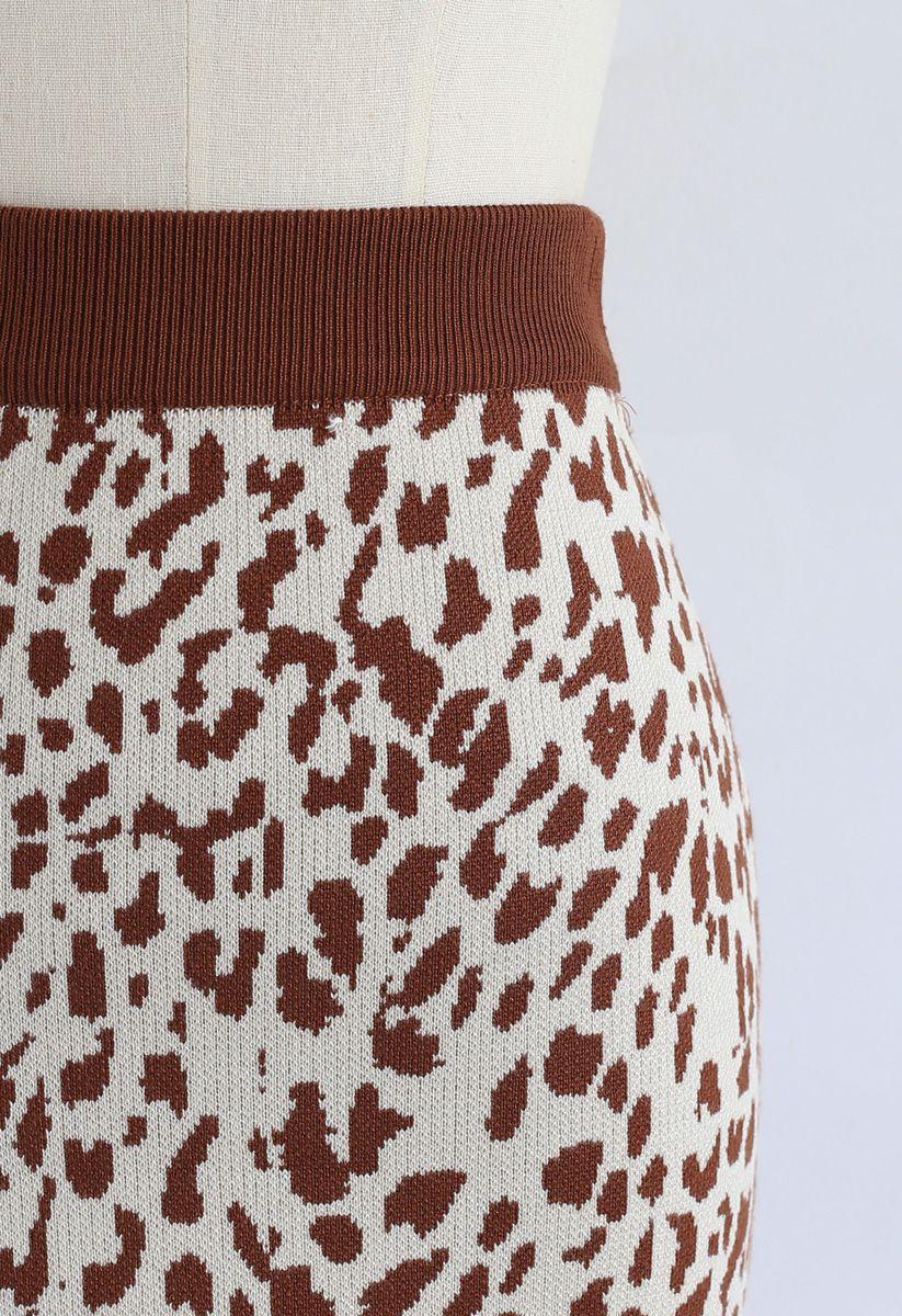 Leopard Print Mini Knit Skirt in Caramel