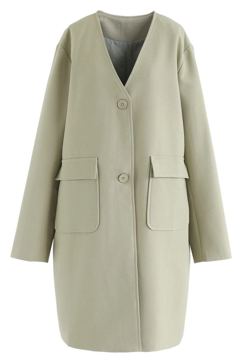 V-Neck Pockets Longline Coat in Moss Green