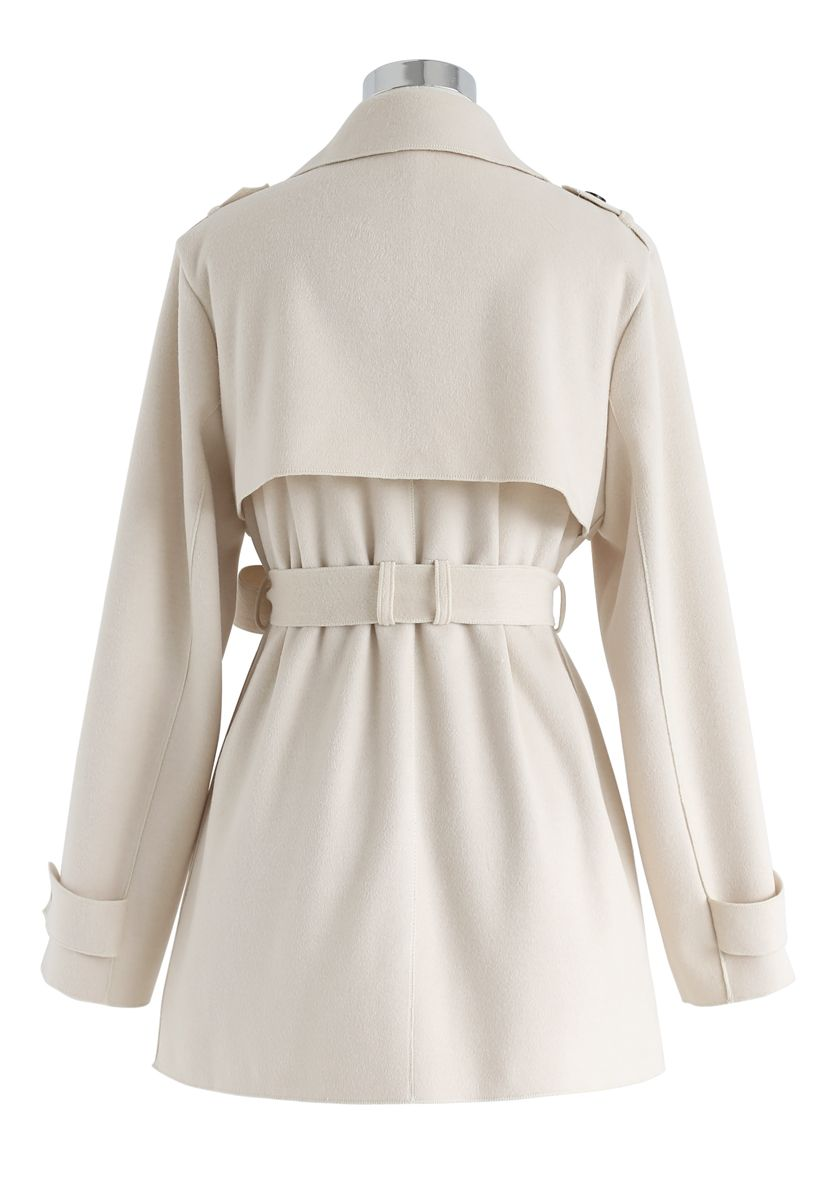 Open Front Belted Trench Coat in Cream