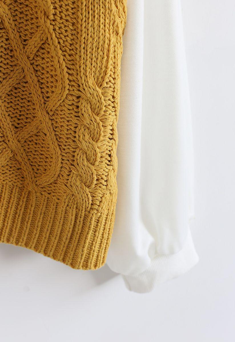 Braid Texture Spliced Sleeves Knit Sweater in Mustard
