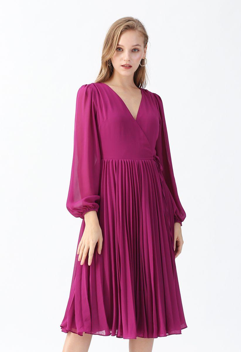 Magenta V-Neck Wrap Pleated Chiffon Dress