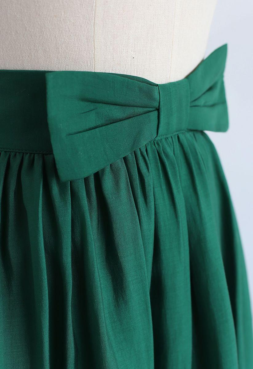 Bowknot Waist Pleated Midi Skirt in Emerald