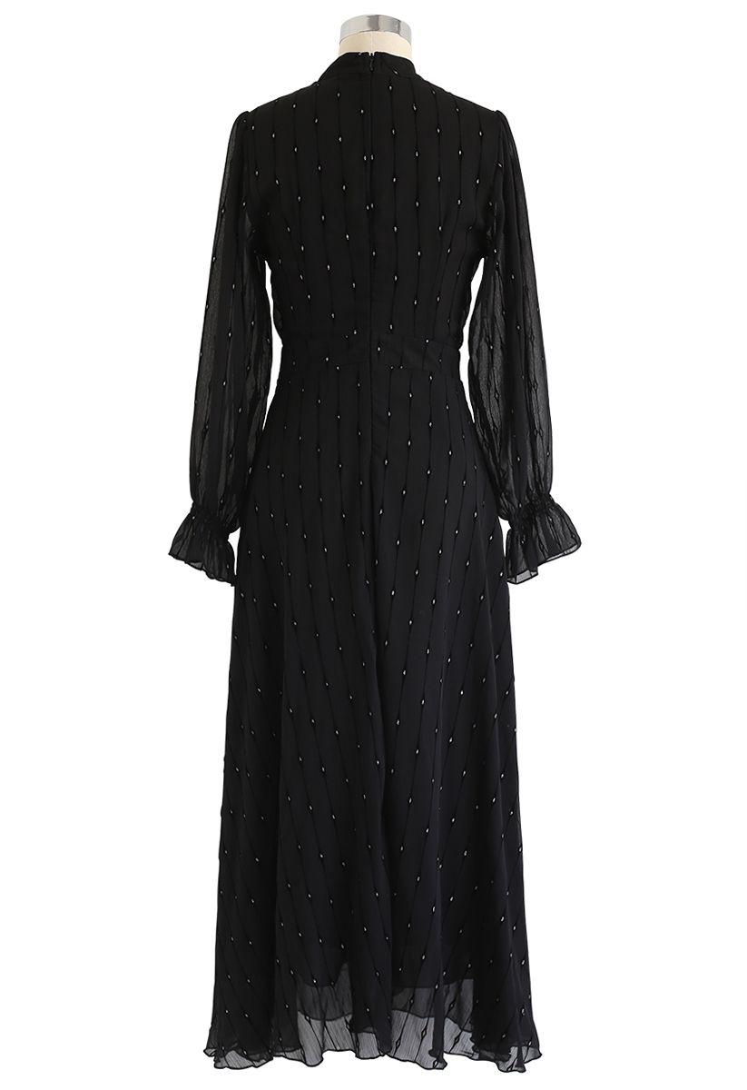 Shiny Dots Wrap Maxi Dress in Black