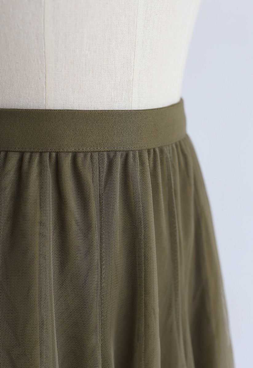 My Secret Weapon Tulle Maxi Skirt in Army Green