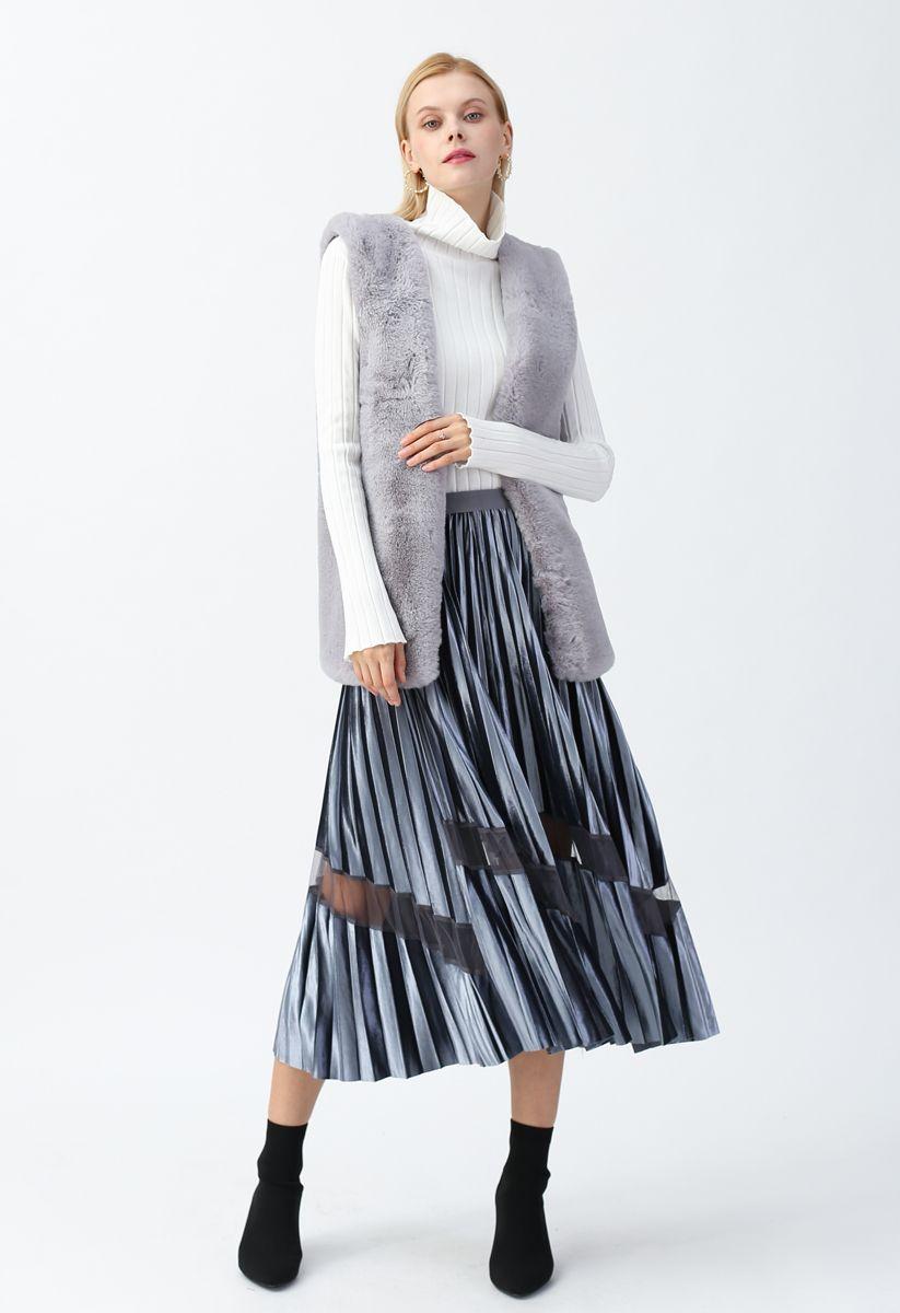 Grey Mid-Length Faux Fur Vest