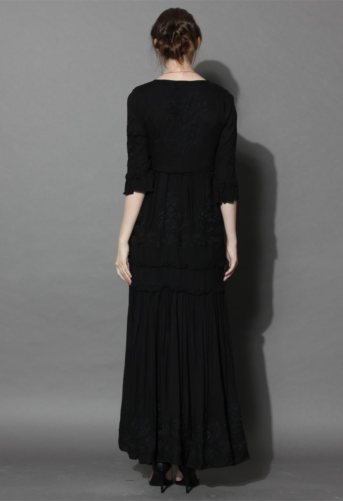 Grace Vines Embroidered Maxi Dress in Black