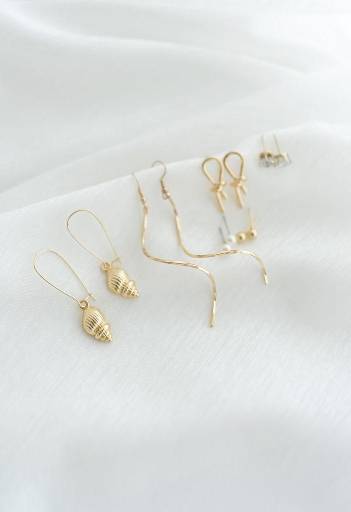 6-Pack Pearl Diamante Knot Hoop and Stud Earrings