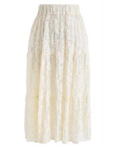 Full Lace Midi Skirt in Cream