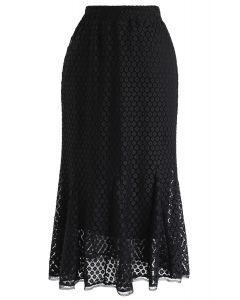 Floret Crochet Frill Hem Midi Skirt in Black
