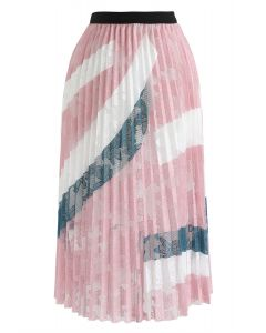 Floral Mesh Pleated Midi Skirt in Pink