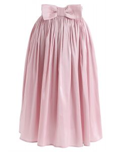 Bowknot Waist Pleated Midi Skirt in Pink