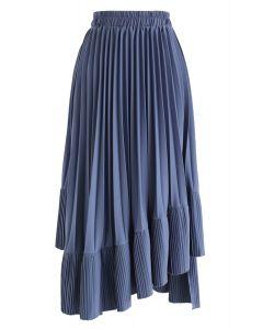 Asymmetric Hem Pleated Midi Skirt in Blue