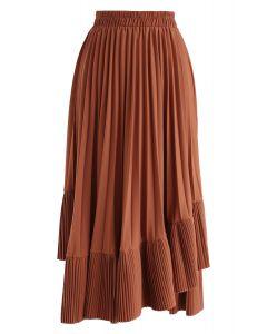 Asymmetric Hem Pleated Midi Skirt in Caramel