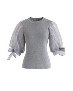 Organza Bubble Sleeves Knit Top in Grey