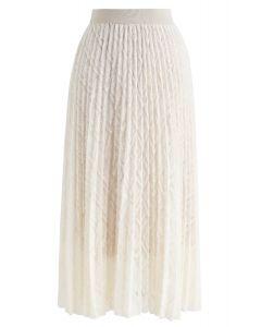 Feathers Tassel Pleated Midi Skirt in Cream