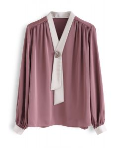 Buttoned Ribbon Trim V-Neck Satin Top in Coral