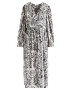 Boho Floral V-Neck Button Down Dress