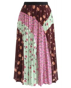 Floral Color Blocked Pleated Midi Skirt in Brown