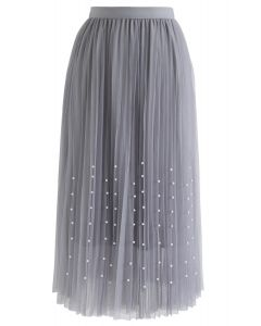 Pleated Double-Layered Mesh Tulle Pearls Skirt in Grey