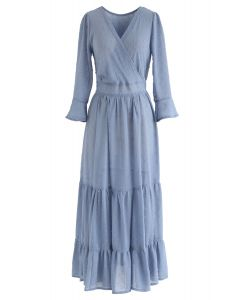 Flock Dots Wrapped Ruffle Maxi Dress in Blue