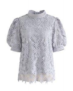 Full of Daisy Crochet Top in Lilac