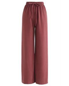 Drawstring Wide-Leg Pants in Red