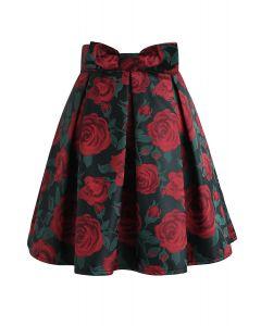 Red Rose Print Bowknot Pleated Mini Skirt