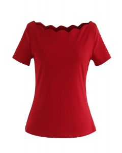 Wavy Boat Neck Short Sleeves Top in Red