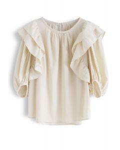 Bubble Sleeves Ruffle Top in Cream