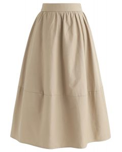 Simple A-Line Midi Skirt in Sand