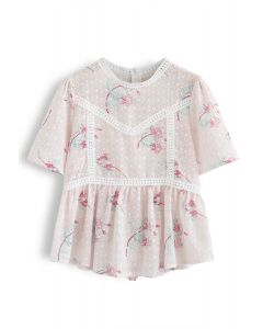 Light Pink Floral Embroidered Peplum Top