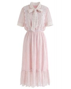 Bowknot Crochet Trim Lace Dress in Pink